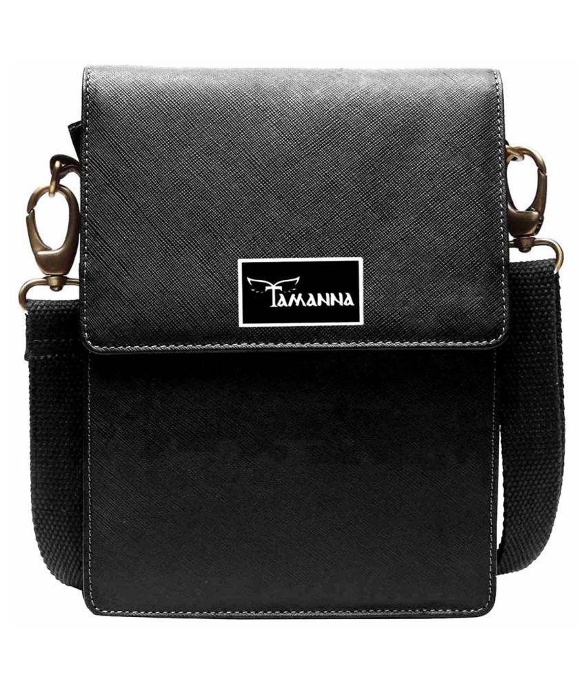 Tamanna LSBU5-TM_7 Black Leather Casual Messenger Bag