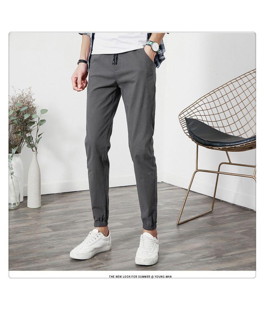 Super Me Grey Regular -Fit Flat Trousers
