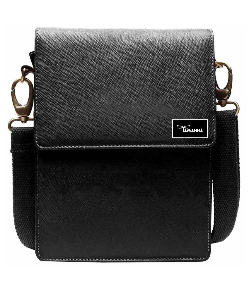 Tamanna LSBU5-TM_3 Black Leather Casual Messenger Bag