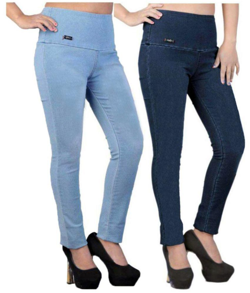 cddd504bf486e8 Buy Trusha Dresses Denim Lycra Jeggings - Multi Color Online at Best Prices  in India - Snapdeal
