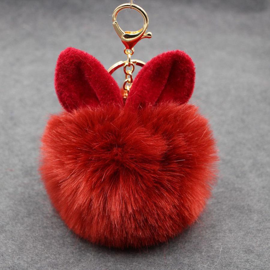 Rabbit Fur Ball PomPom Cell Phone Car Keychain Pendant Handbag Cute Key Ring LAX