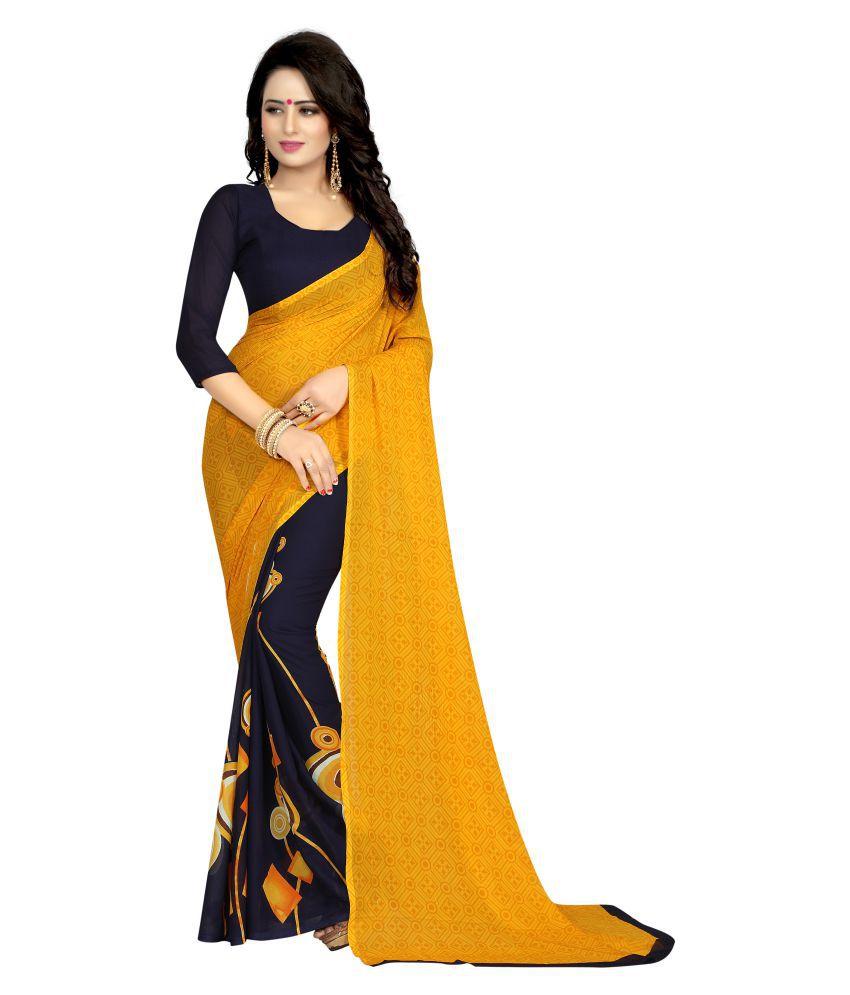 Tithi Kumari Yellow and Black Georgette Saree