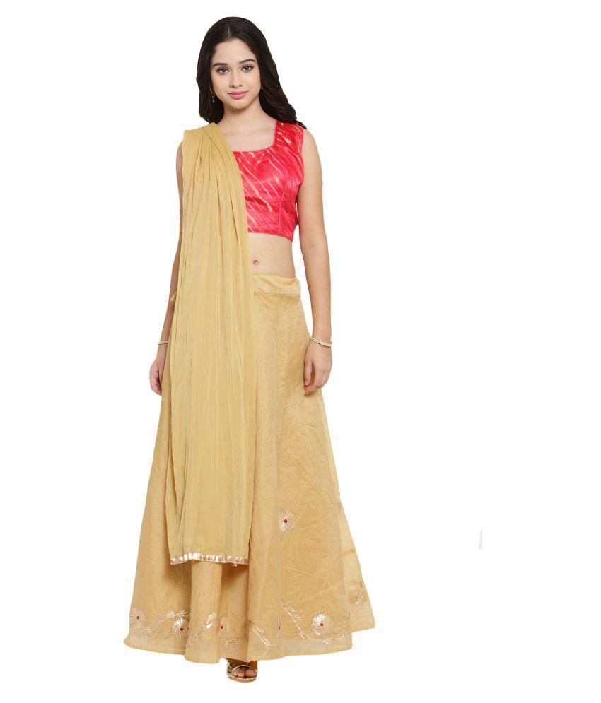 Salwar Studio Beige Silk Sharara Stitched Lehenga