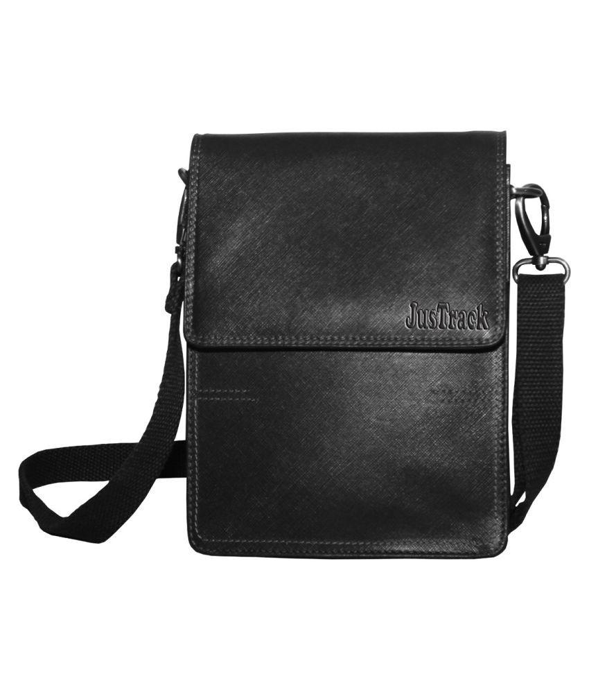 Justrack LSBU17-JT_7 Black Leather Casual Messenger Bag
