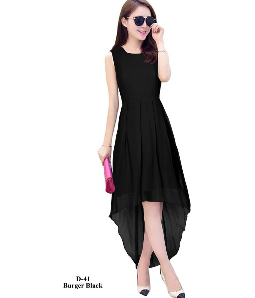 KARMA FASHION HUB Georgette Black A- line Dress