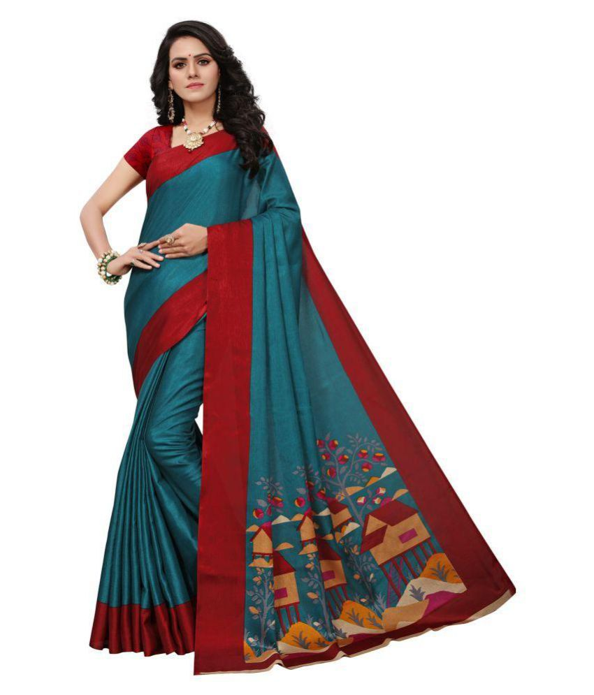 Python Multicoloured Silk Blends Saree