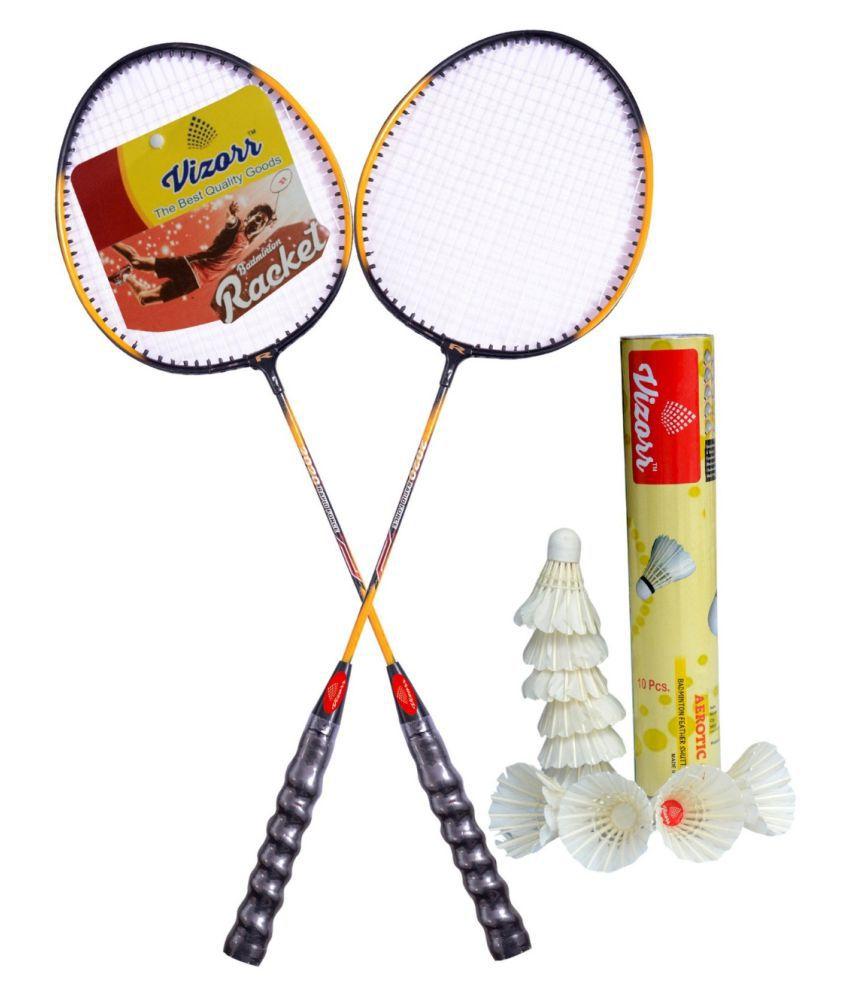Vizorr 20-20 Professional Badminton Racquet Combo with Aerotic-005 Feather Shuttlecock (10pcs.)