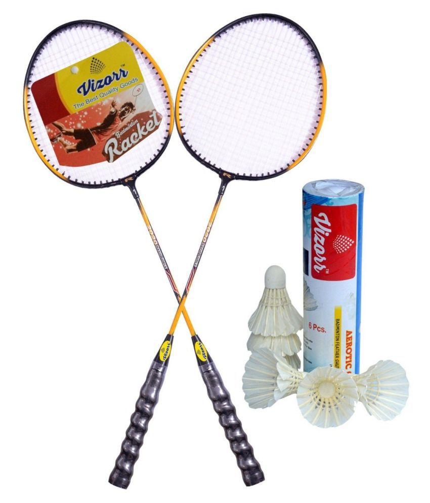 Vizorr 20-20 proffesional Badminton Racquet combo with Aerotic-001 feather shuttlecock (6pcs.)