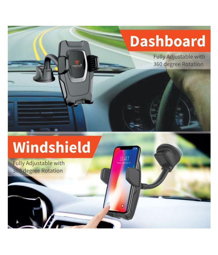 Tantra Car Mobile Holder Double Clamp for Dashboard & Windshield - Black