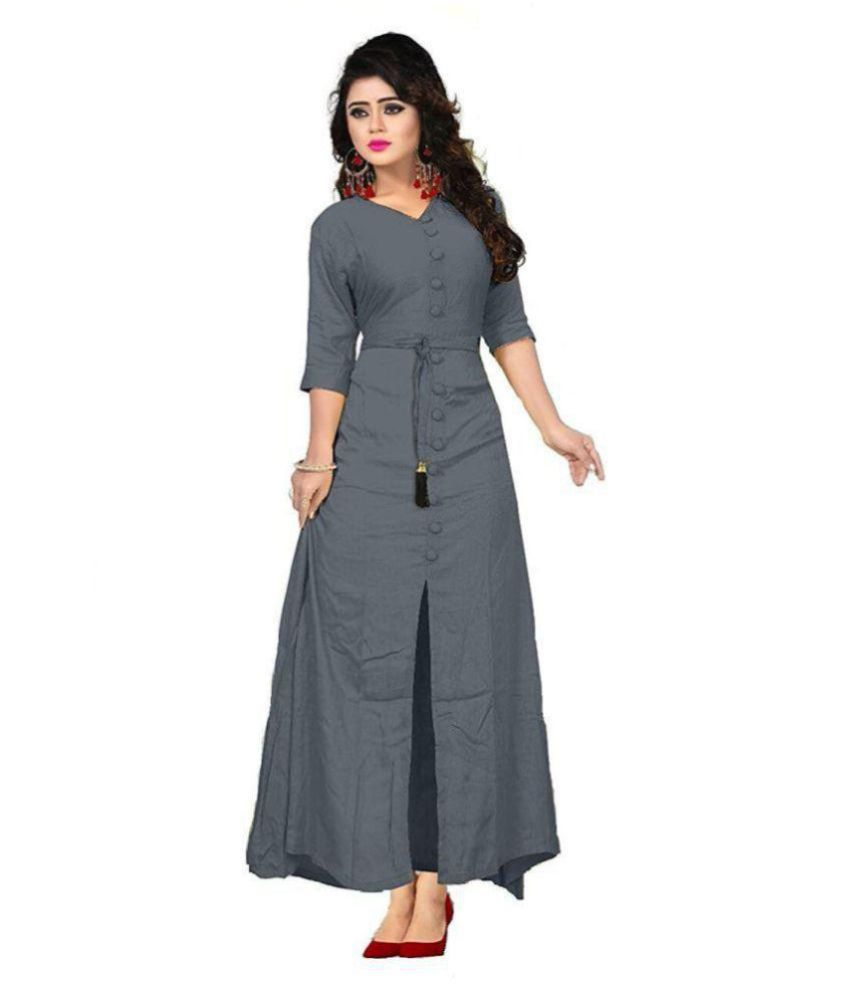 954969360bbd9 K J Enterprises Grey Rayon A-line Kurti - Buy K J Enterprises Grey Rayon  A-line Kurti Online at Best Prices in India on Snapdeal