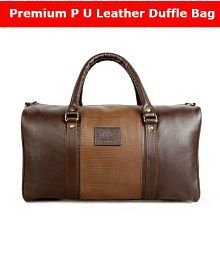 Quick View. The Clownfish Ambiance Series Unisex P U Leather Travel Bag 18  Inch 20 Litres Brown Duffle ... 094c29894c