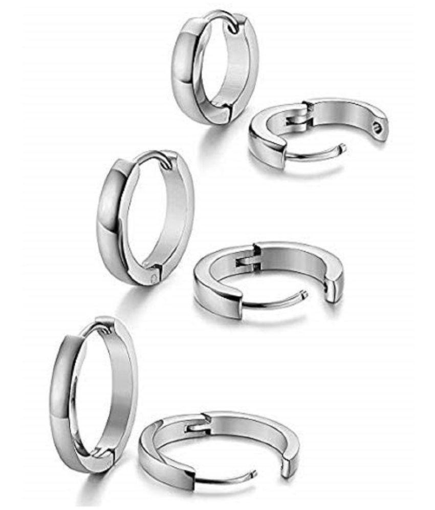 Classic silver Plain Thin Cambered Huggie Hoop Ear Lobe Combo Earrings stud for Men & Women -3 Pairs