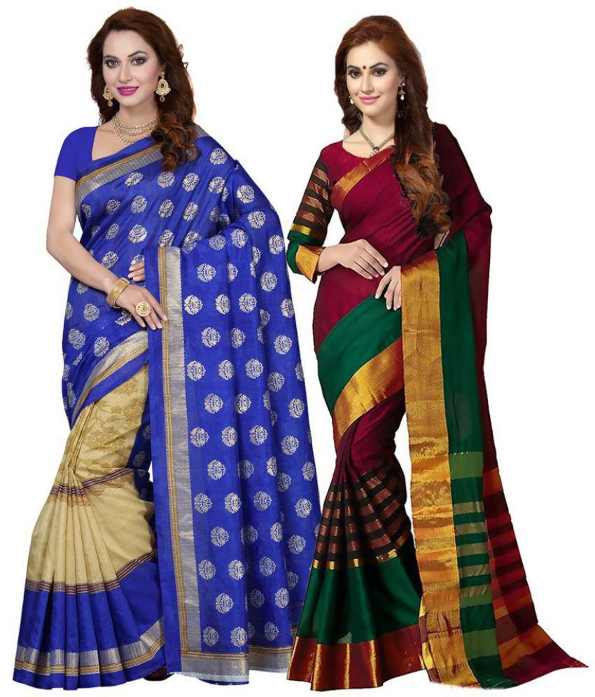 03ea16fa741 Ishin Multicoloured Art Silk Saree Combos - Buy Ishin Multicoloured Art Silk  Saree Combos Online at Best Prices in India on Snapdeal