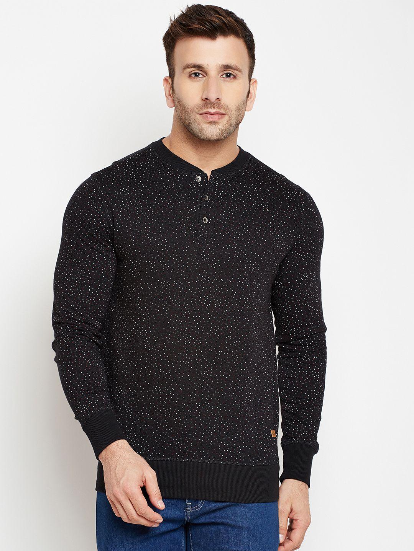 Crimsoune Club Black Henley Neck Sweatshirt
