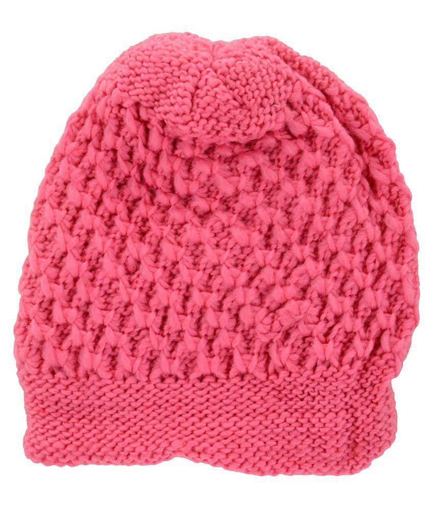 5ea8ebd5 Zacharias Pink Woolen Skull Cap for Women: Buy Online at Low Price ...