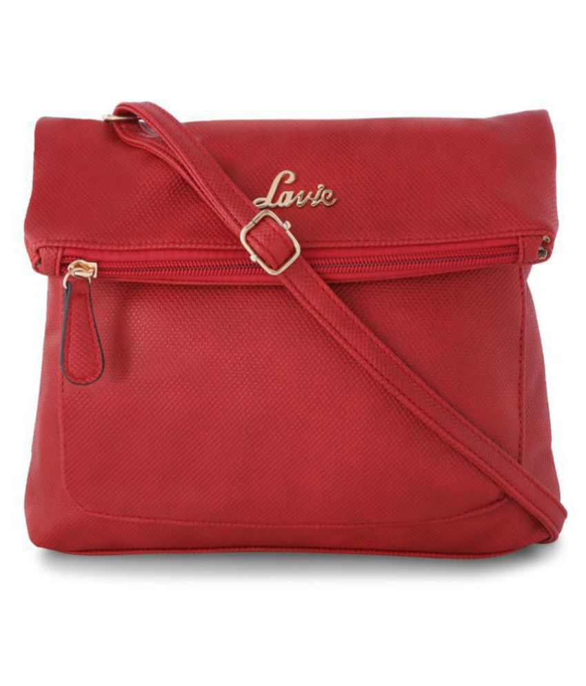 Lavie Red Faux Leather Sling Bag