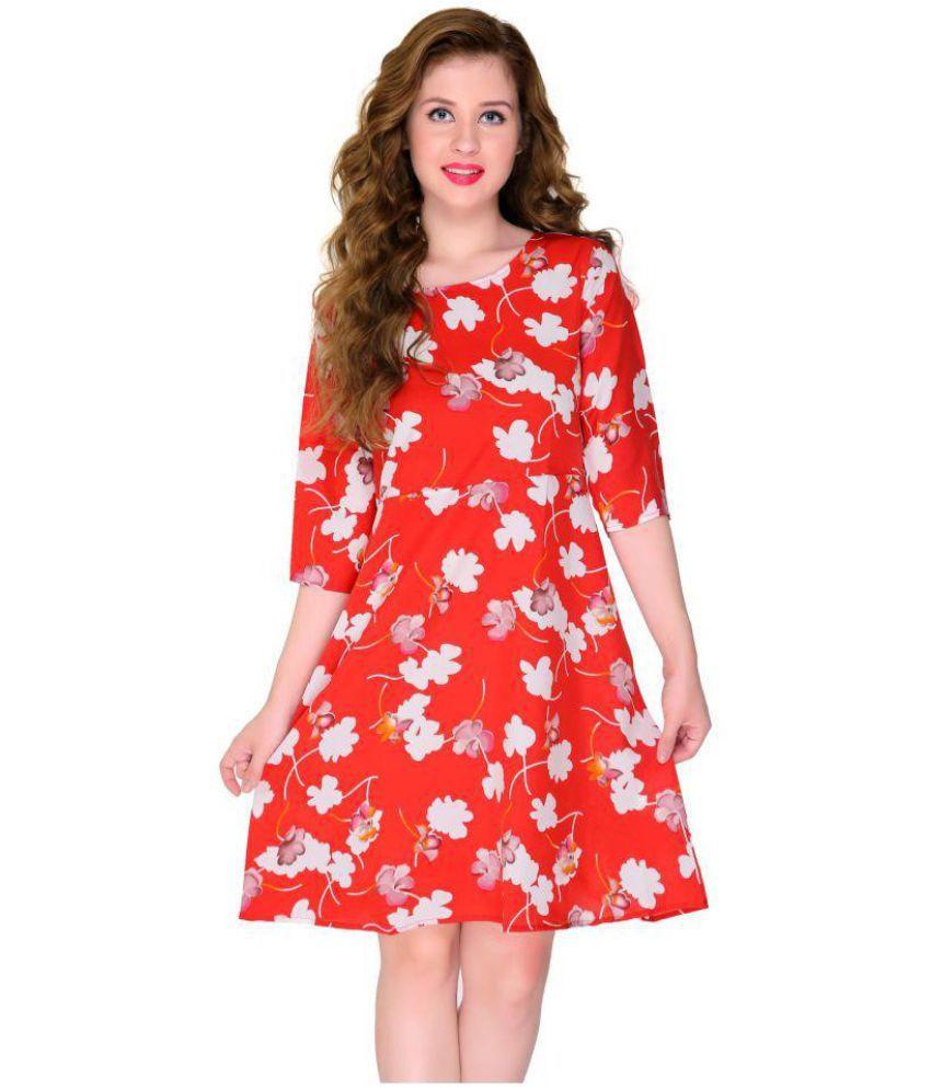 ORIZIA Crepe Red Regular Dress