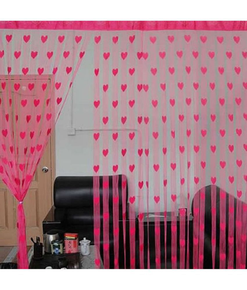 New panipat textile zone Set of 2 Door Heart String Curtain