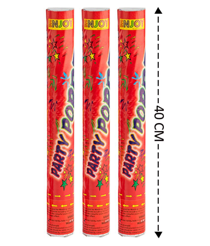 Enjoy Red Party Poppers 40cm Long for Birthday Party/Anniversary Party/Celebration any Occasions (Pack of 3)