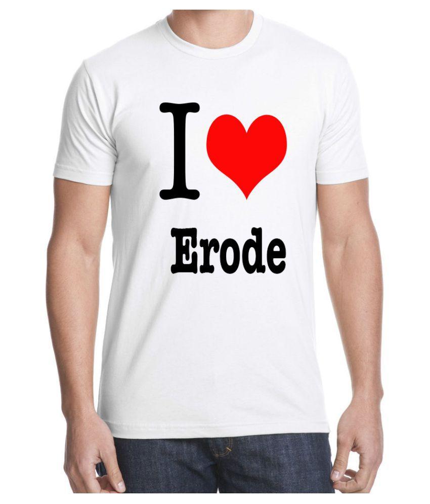 Ritzees Unisex Half Sleeve White Cotton T-Shirt Cotton T-Shirt I Love Erode for Men, Women, Kids(White, 34)