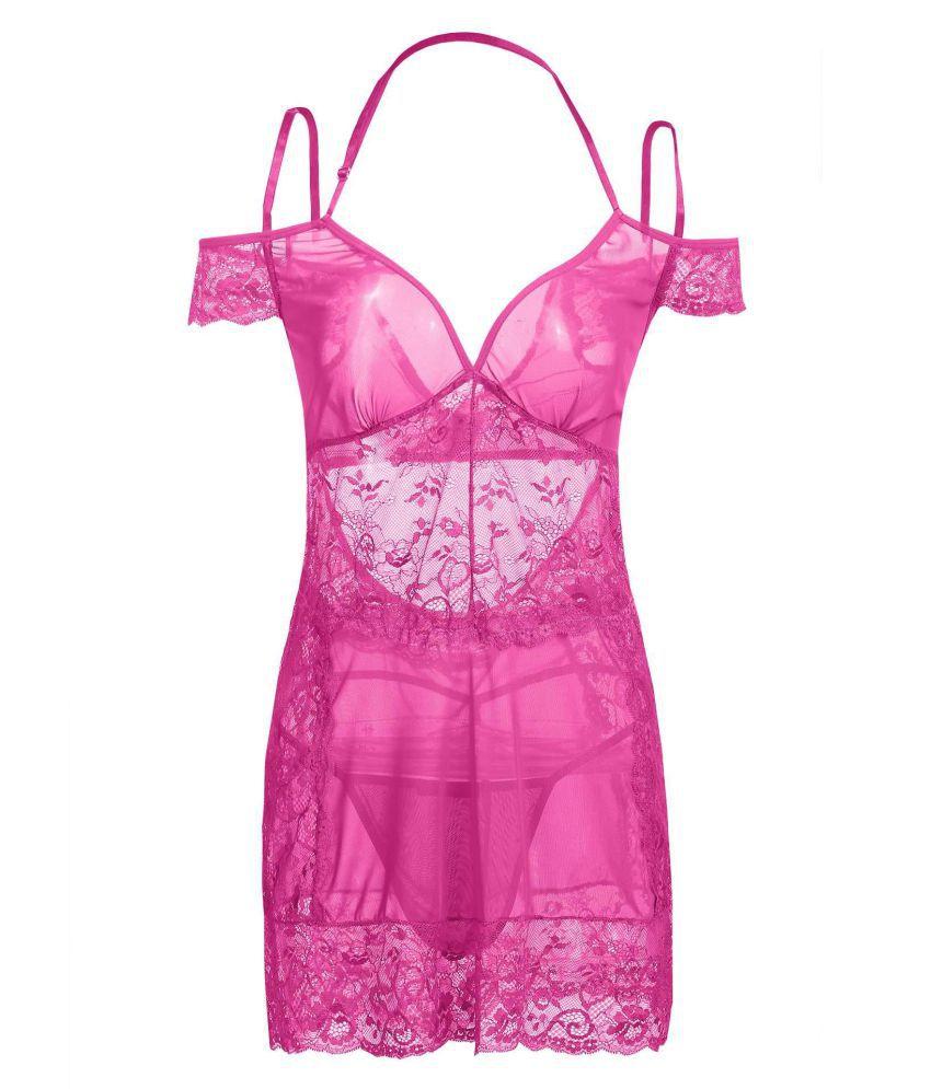 Generic Cotton Night Dress - Pink