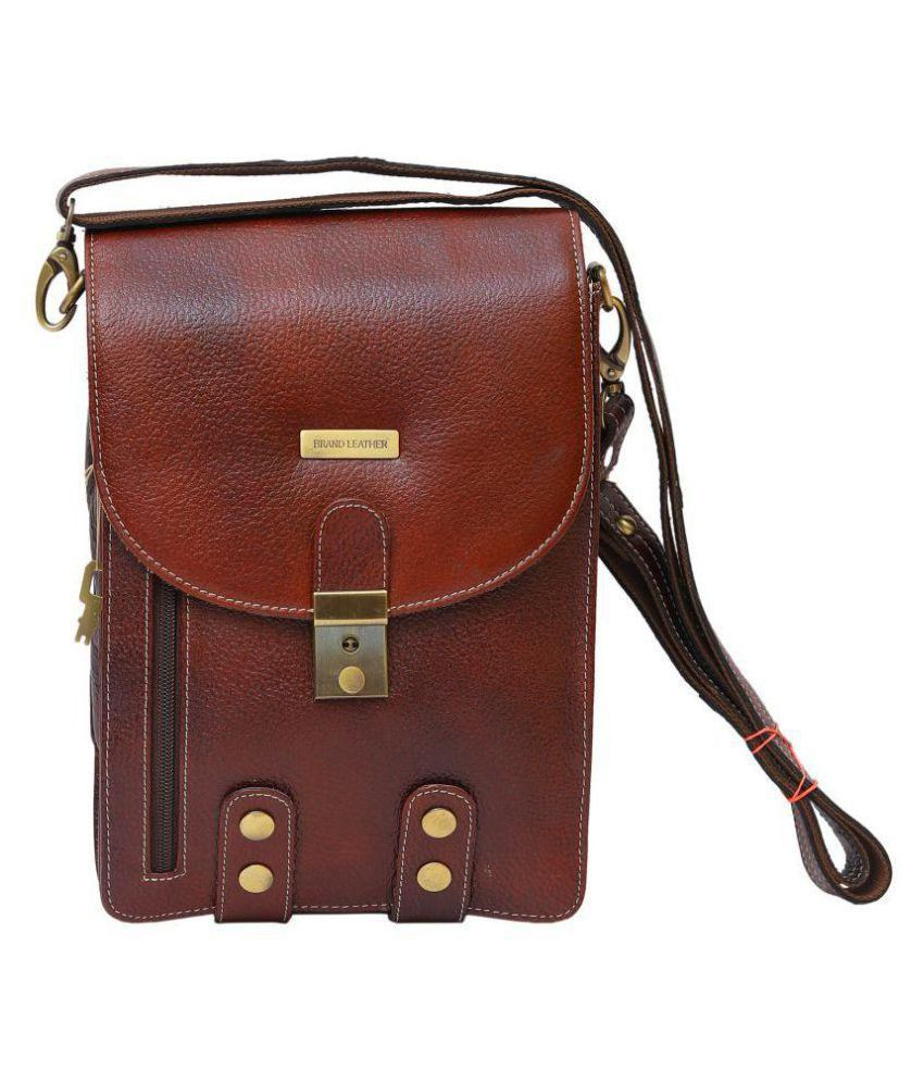 Brand Leather BL309 Brown Leather Office Messenger Bag