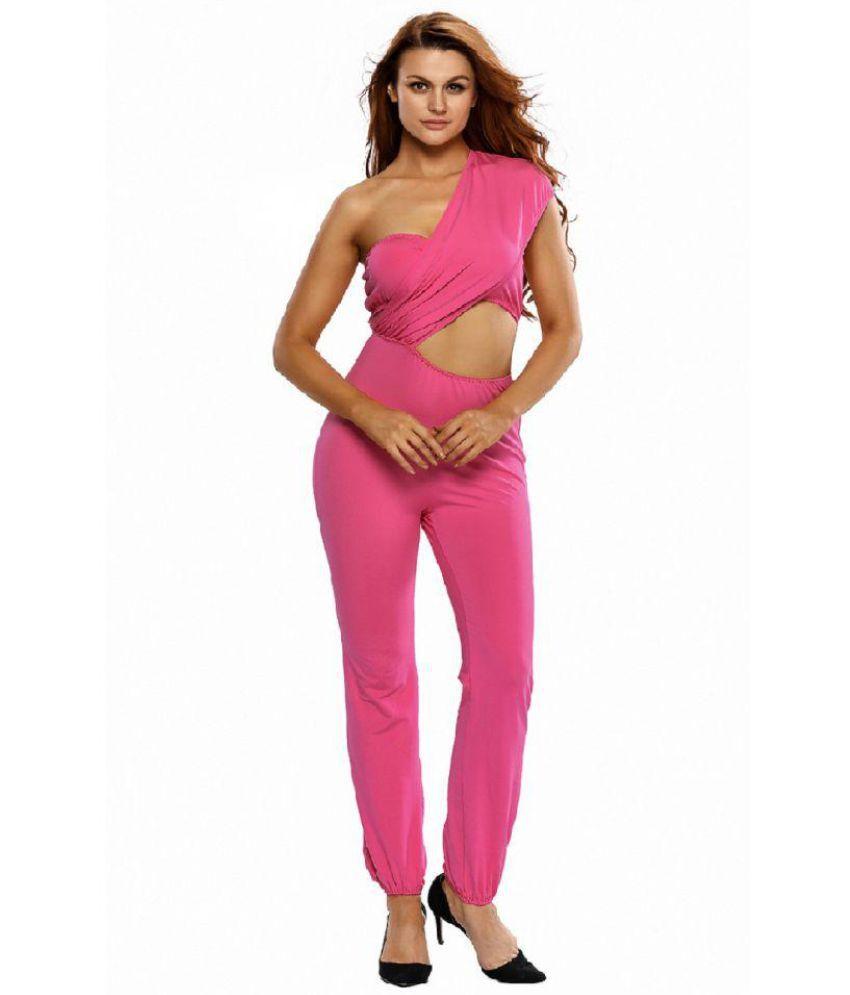 Cloe Valentine Pink Polyester Jumpsuit