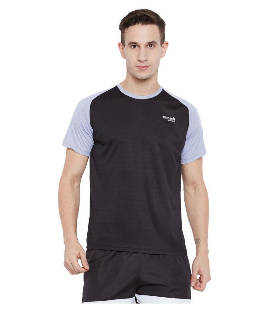 Masch Sports Men Black Regular Fit Round Neck  Soft Polyester Sports T-Shirt-Active Wear, Sports Wear & Gym Wear T-shirt For Men