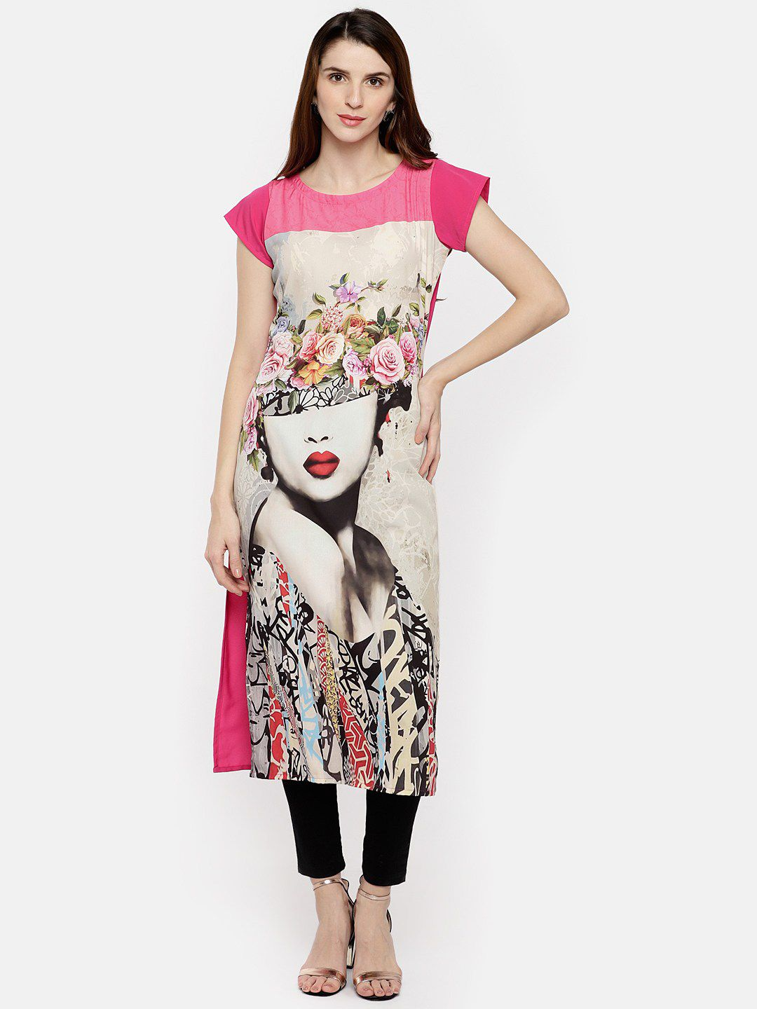 Trend Factory Multicoloured Crepe Straight Kurti