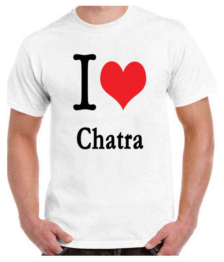 Ritzees Unisex Half Sleeve White Cotton T-Shirt Cotton T-Shirt I Love Chatra for Men, Women, Kids(White, 34)