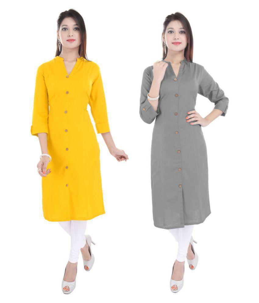 Barari Multicoloured Cotton Blend Front Slit Kurti