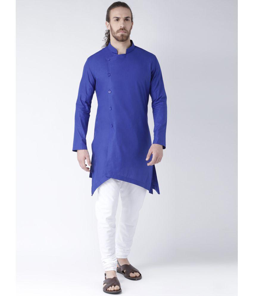 Deyann Blue Cotton Kurta Pyjama Set
