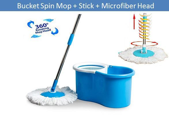 Esquire 360 Degree Rotating Magic Spin Mop Bucket Set With One Microfiber  Mop Head (Mop Set)