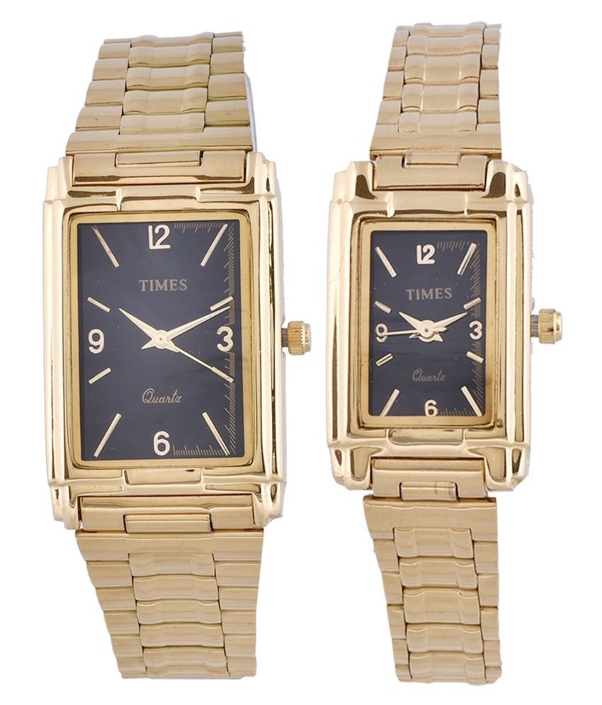 66d7e6dca Times Quartz Analog Rectangle Black Dial Gold Color Band Couple Wrist Pair  Wedding Gift Watch for Men   Women (TIMES-219-GBBD-4) Price in India  Buy  Times ...