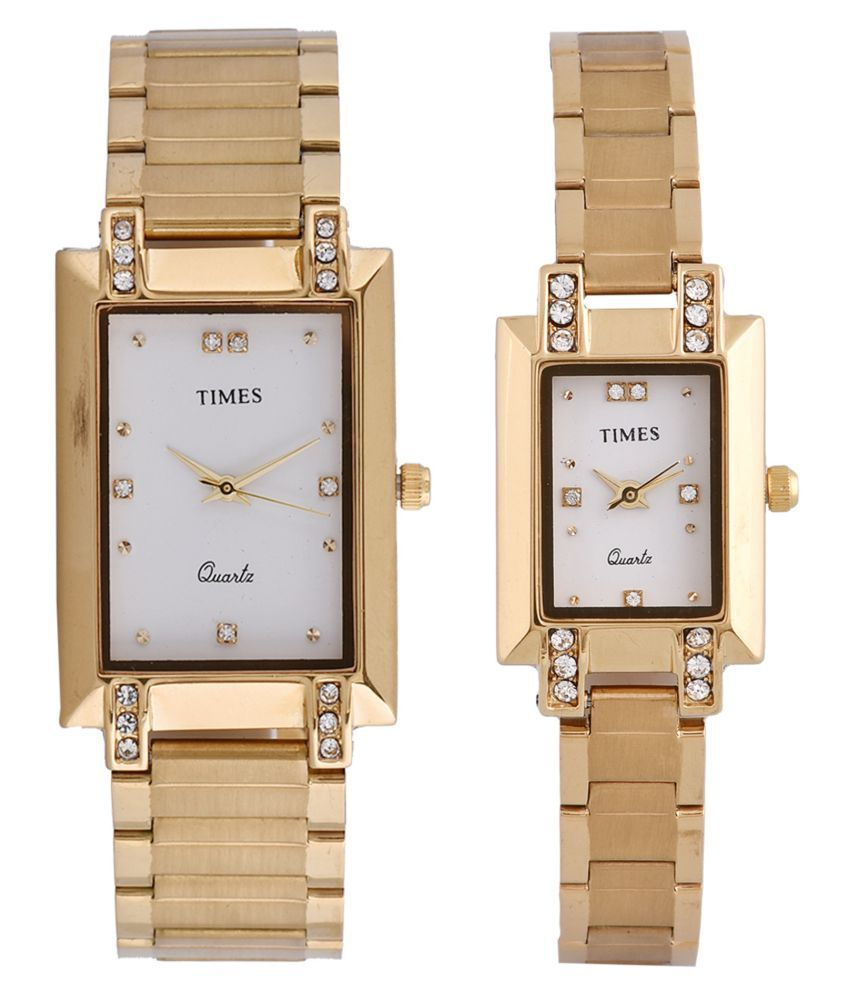 2f8ffd37a Times Quartz Analog Rectangle White Dial Gold Color Band Couple Wrist Pair  Wedding Gift Watch for Men   Women (TIMES-218-GBWD-5) Price in India  Buy  Times ...