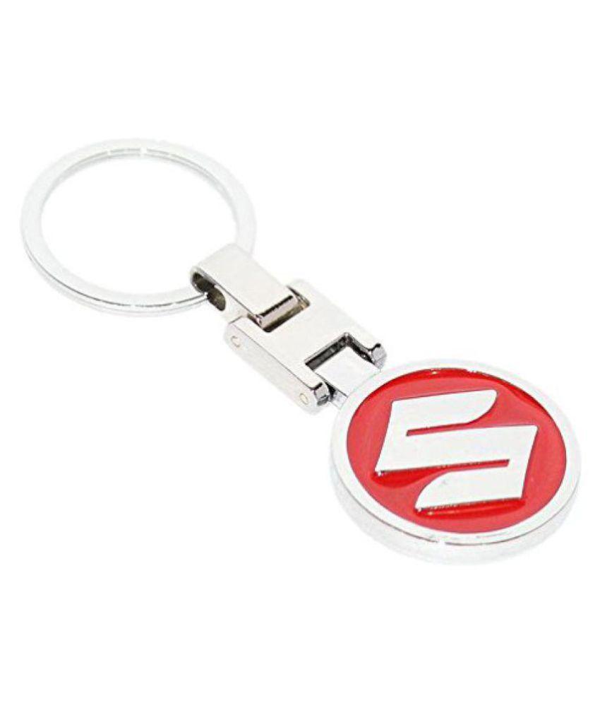 DzineTrendz Stainless steel Red coloured Suzuli logo stylish car bike keyring key chain