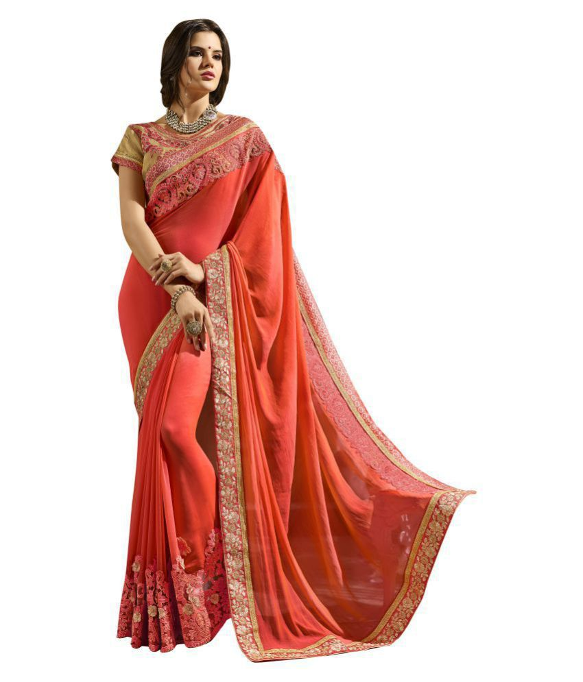Patiala House Red and Beige Georgette Saree