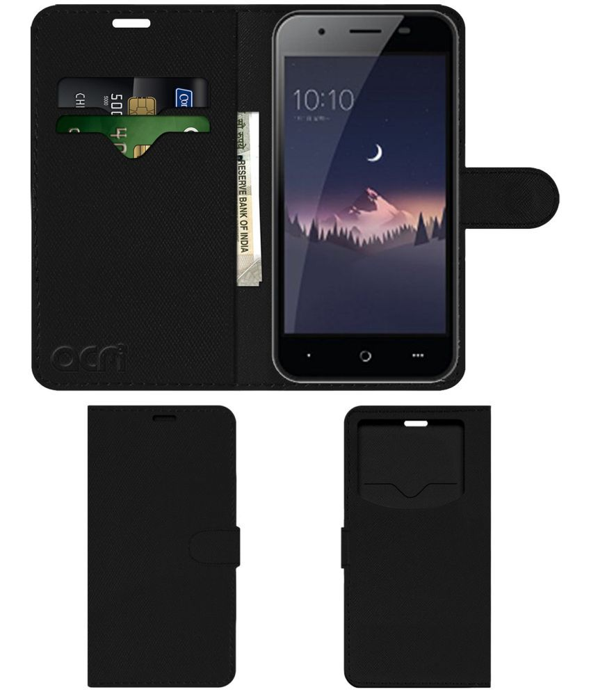 LEPHONE W12 Flip Cover by ACM - Black Wallet Case,Can store 2 Card & 1 Cash Pockets