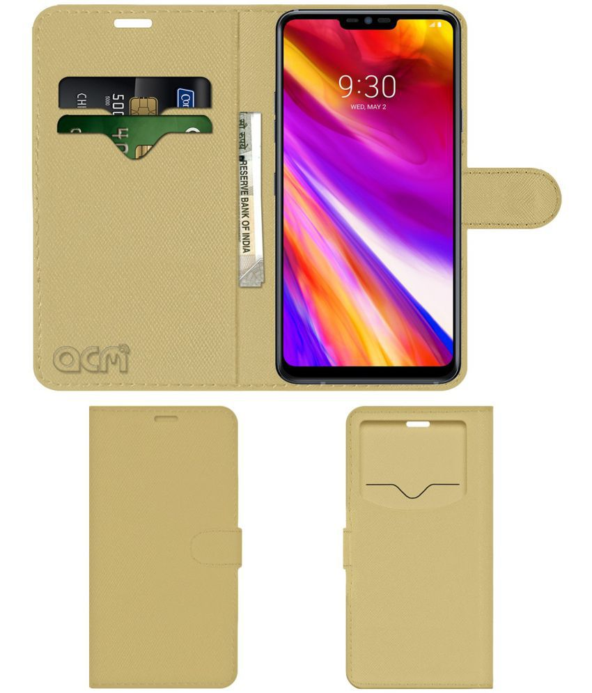 LG G7+ ThinQ TM Flip Cover by ACM - Golden Wallet Case,Can store 2 Card & 1 Cash Pockets