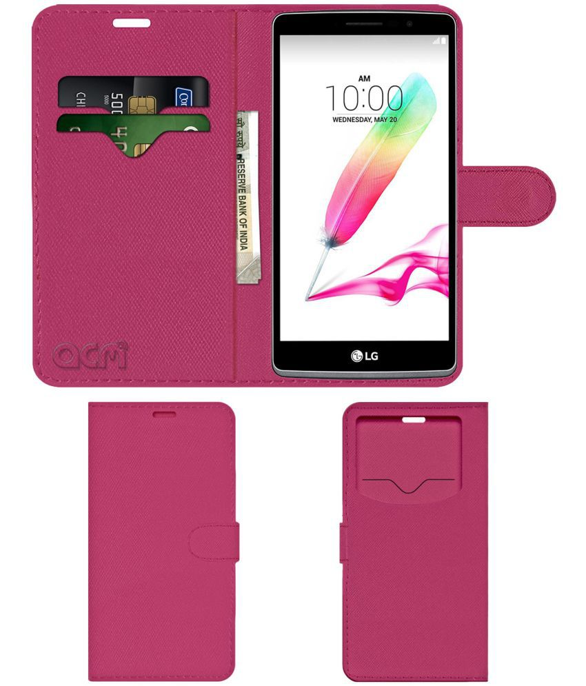 Lg H540d Flip Cover by ACM - Pink Wallet Case,Can store 2 Card & 1 Cash Pockets