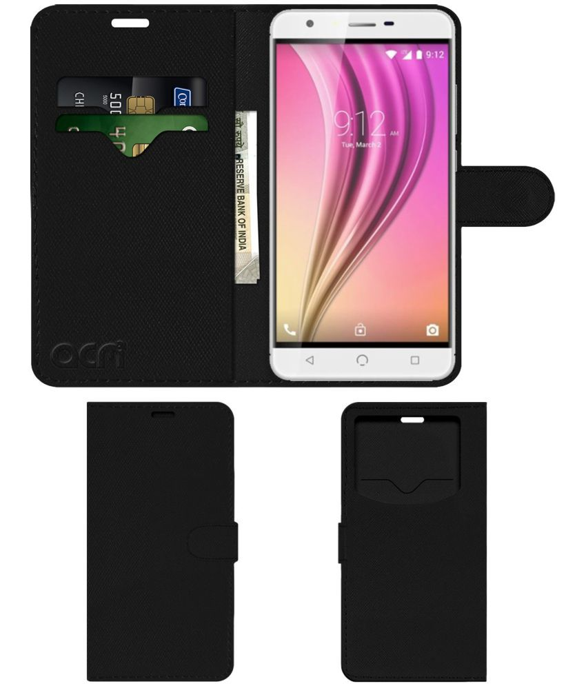 Nuu X5 Flip Cover by ACM - Black Wallet Case,Can store 2 Card & 1 Cash Pockets
