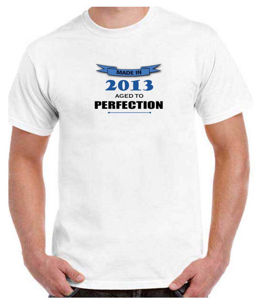 Ritzees Unisex Half Sleeve White Cotton T-Shirt Cotton T-Shirt Birthday for Men, Women, Kids(White, 36)