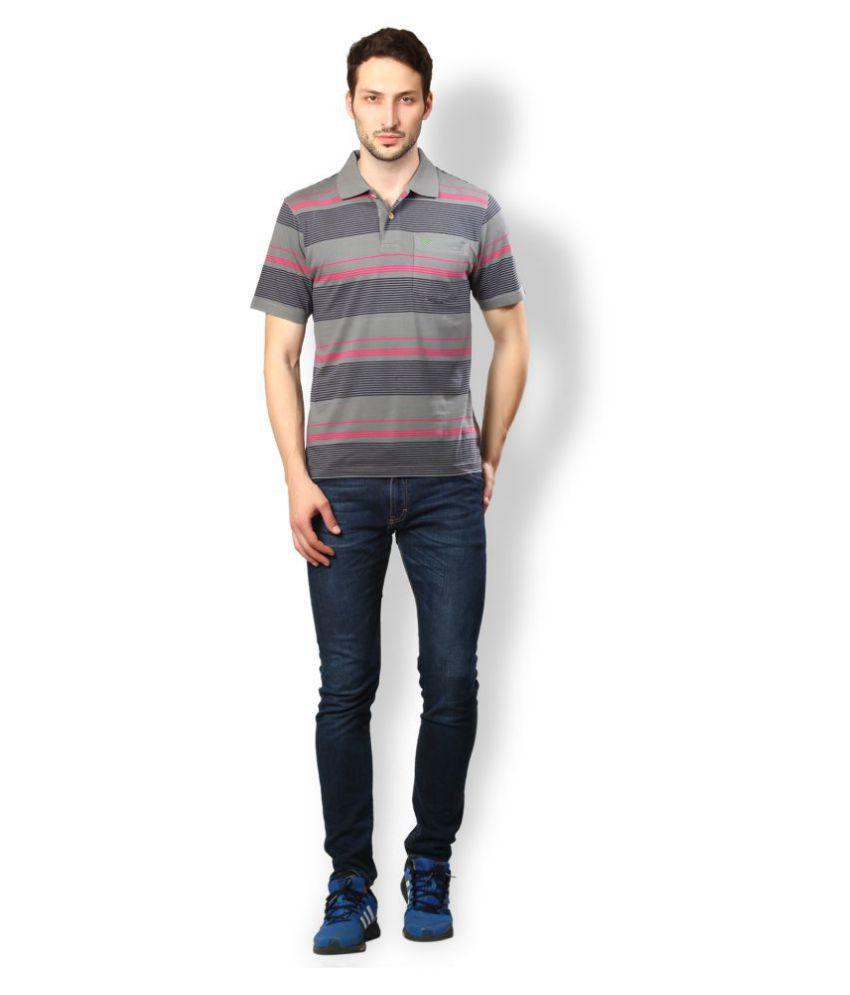 UV & W Grey Cotton Polo T-Shirt