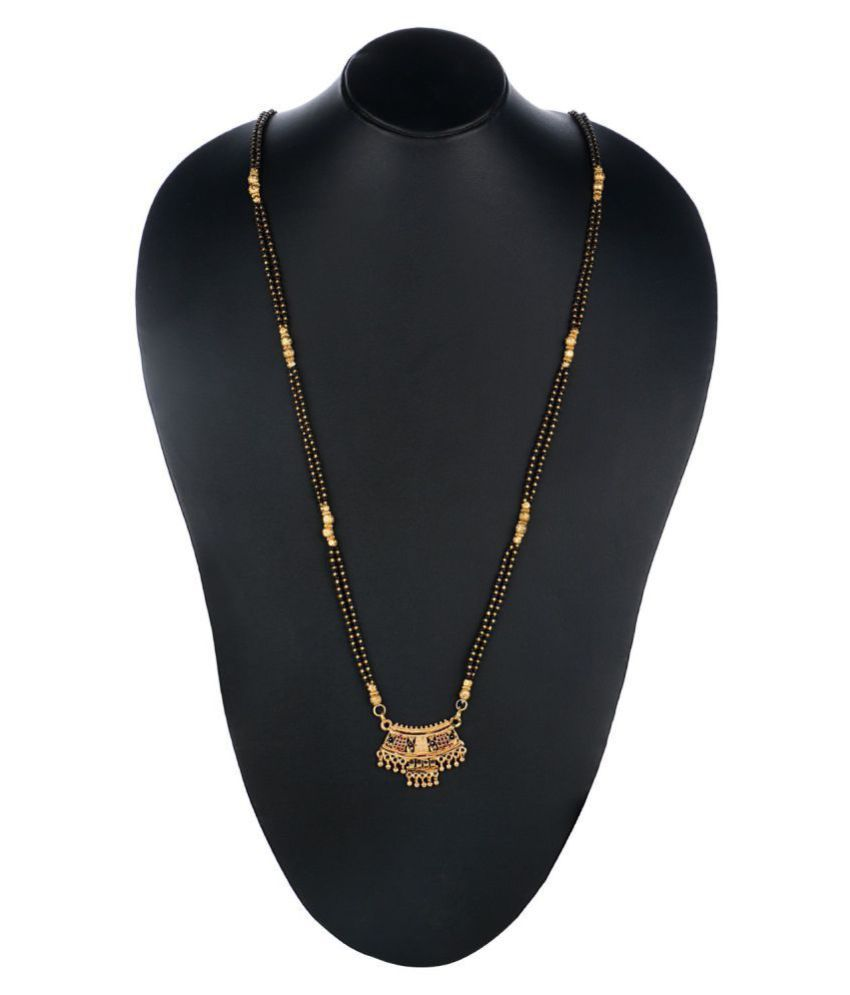 Archi Collection Traditional Gold Plated Long Ethnic Mangalsutra Pendant with Chain for Women