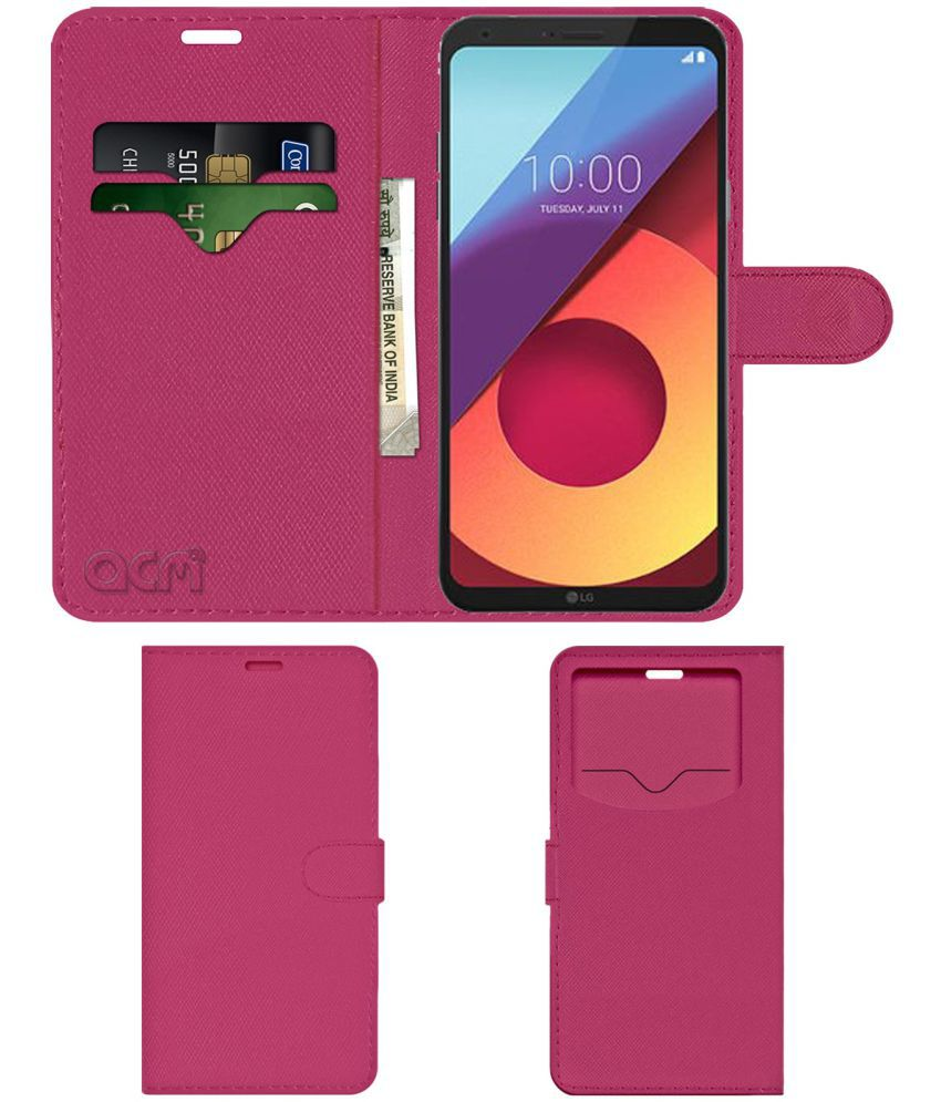new style e2f65 6c8c3 LG Q6 Plus Flip Cover by ACM - Pink Wallet Case,Can store 2 Card & 1 Cash  Pockets