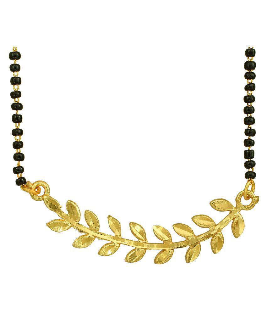 DzineTrendz Gold Plated, Leaf Design, Single Strand, Simple and Sober, Light Weight Short Length Mangalsutra Ethnic Fashion by DzineTrendz