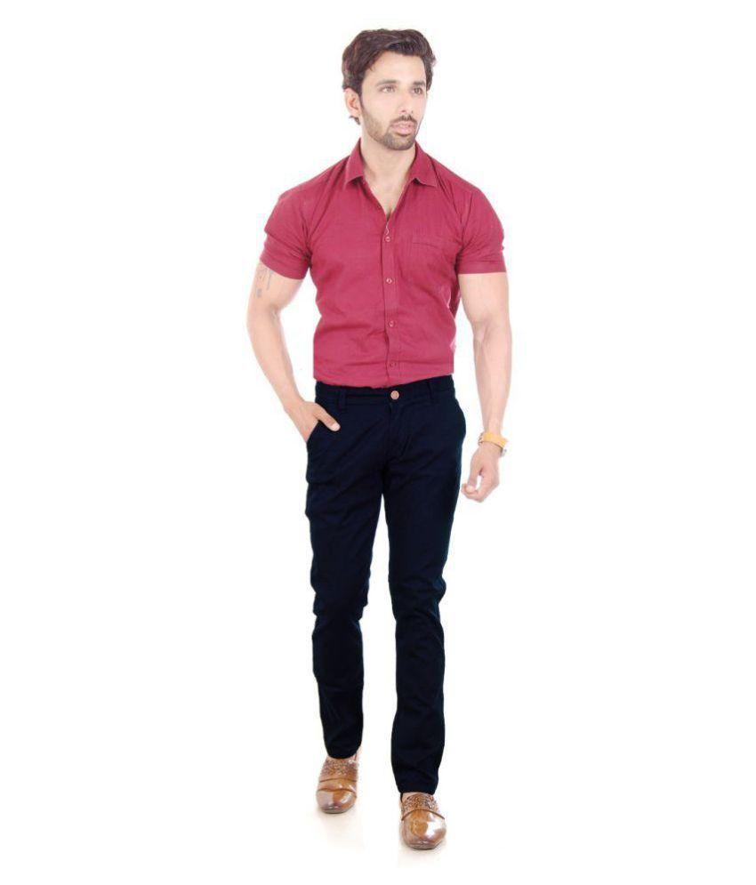 mapp Blue Slim -Fit Flat Trousers