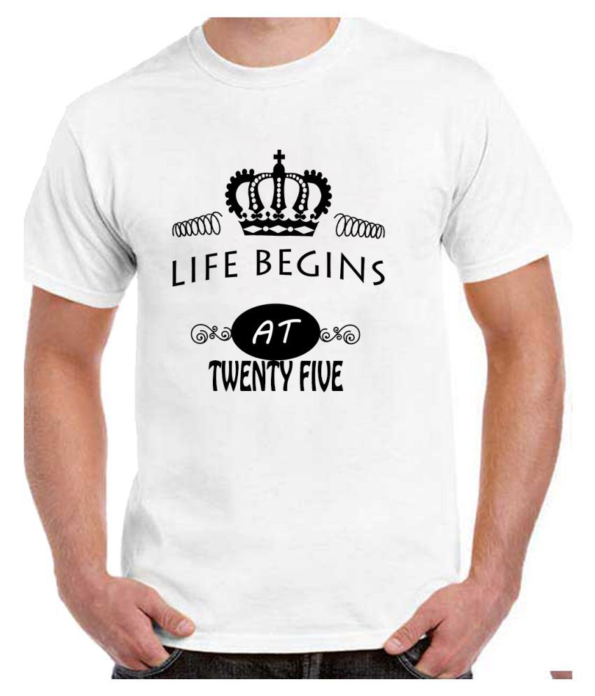 Ritzees Unisex Half Sleeve White Cotton T-Shirt Cotton T-Shirt 25Th Birthday for Men, Women, Kids(White, 38)