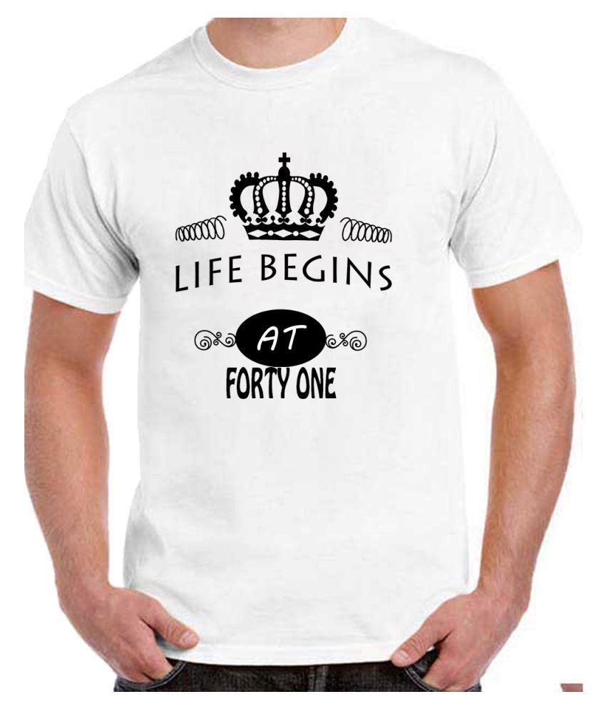 Ritzees Unisex Half Sleeve White Cotton T-Shirt Cotton T-Shirt 41St Birthday for Men, Women, Kids(White, 36)