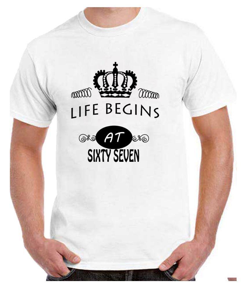 Ritzees Unisex Half Sleeve White Cotton T-Shirt Cotton T-Shirt 67Th Birthday for Men, Women, Kids(White, 48)